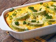 Лесни тиквички на фурна със сирене и копър (огретен)